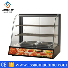 High Efficiency Insulation Stainless Steel Uniform Heating Arc Thermal Display Cabinet Glass Food Warmer Display Showcase