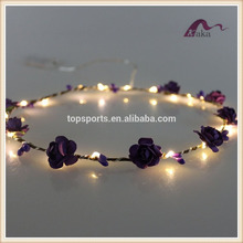 Latest Design Colorful LED Light Artificial Flower wreath and LED Decoration Hair Band