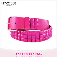 studs and painting pink Square beads fashion Pu women's belt