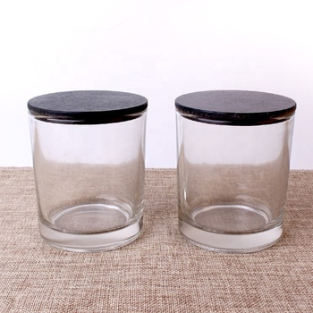 Luxury 335ml glass jar candle holder candle jar with bamboo lid cover