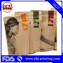 customized brown kraft paper stand up pouch food packaging resealable kraft paper mylar bags with ziplock