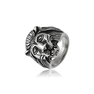 15780 xuping fashion cool animal man's ring stainless steel lion head design ring