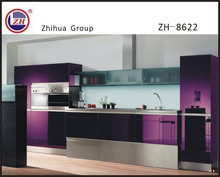 Elegant Purple color kitchen cabinet furniture with tall basket & frosted glass door wall cabinet