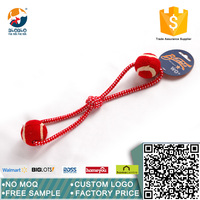 fashion design and cool pet toy rope toy for dog with two balls colorful