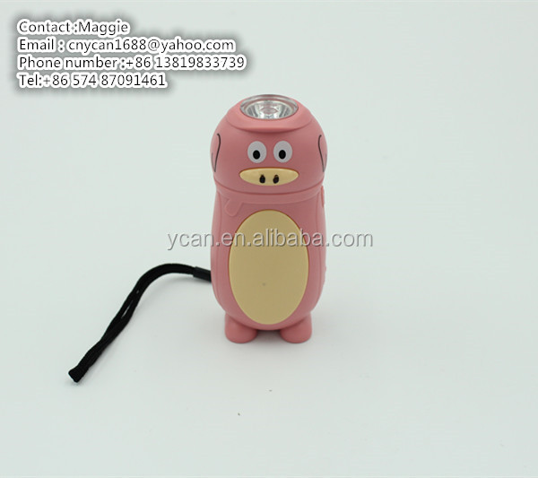 YK-404 1LED Pig animal dynamo flashlight WIND UP (SQUEEZE ACTION) squeeze