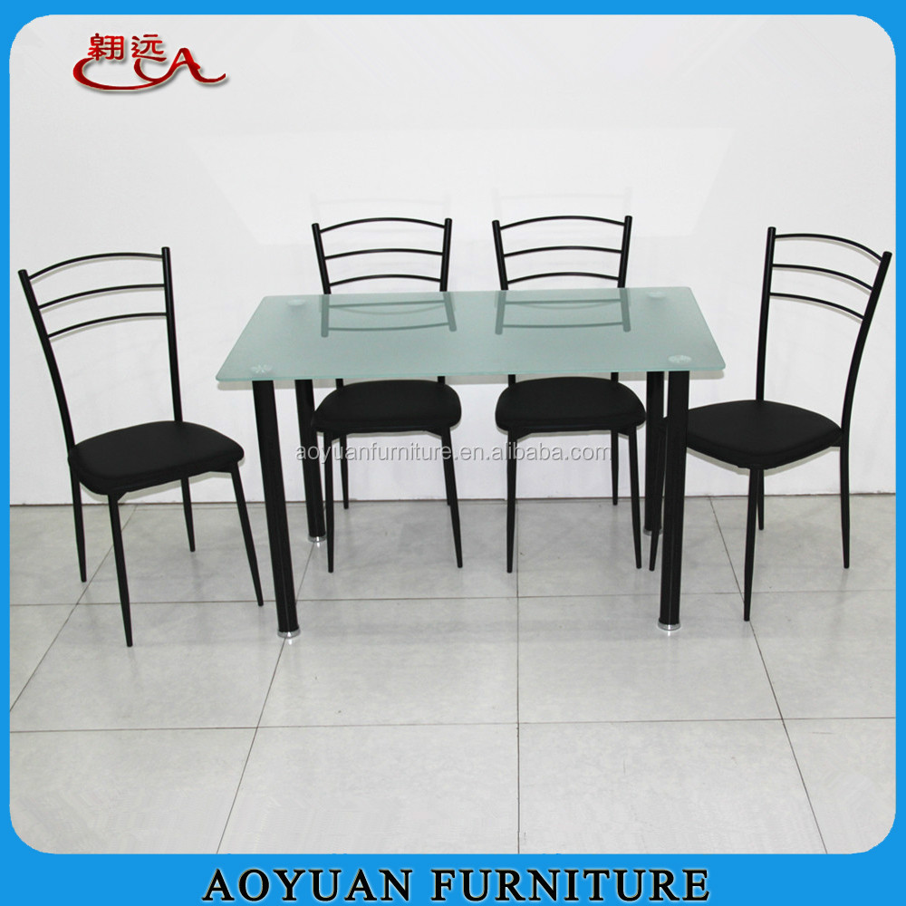 C270 frosted glass top dining table and leather chair for Frosted glass dining table