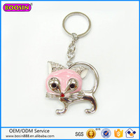 Wholesale fashion animal key chain, metal cat key chain