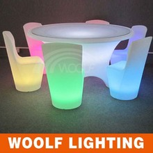 led lighted plastic heavy-duty dining table and chairs