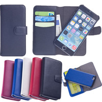 Wallet Detachable Magnet Leather Case For Iphone 4,Magnetic Luxury Flip Phone Case Cover