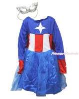 Halloween Captain Girl Blue Hero One Piece Party Costume Dress Mask Cosplay 3-9Y