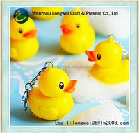 3d led rubber duck keychain/led key chain