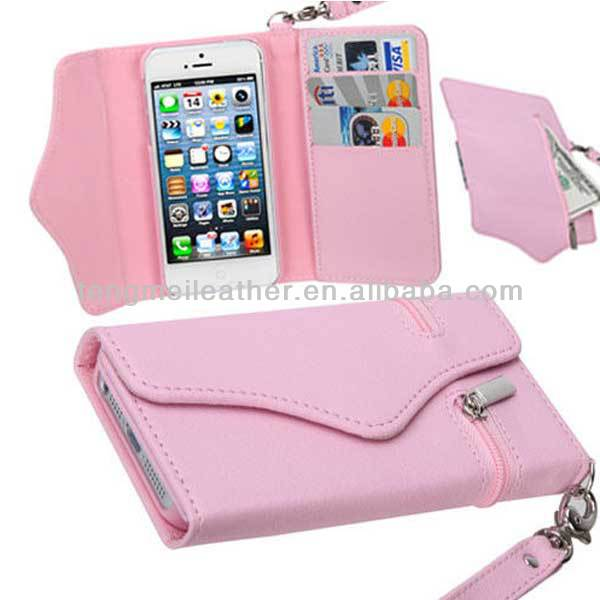 Pink Wallet Folio Flip Card Holder Leather Case Pouch For iPhone 5 5S,For iPhone 5 Handbag Case,Zipper Case For iPhone 5 5S