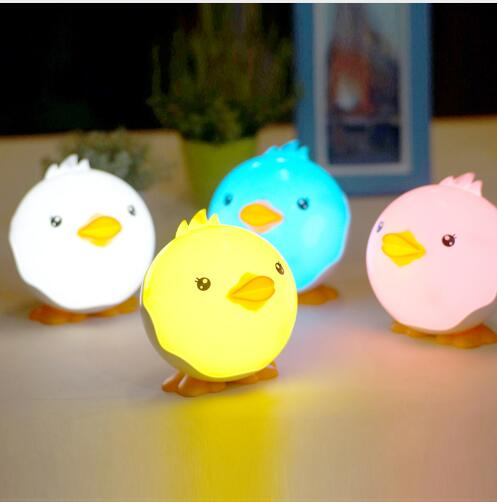 Cute Colorful Little Duck Dimming Cartoon LED Night Light Baby Touch Switch USB Rechargeable Desktop Lamp