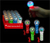 Wholesale High Quality Kid Toys Flashing Christmas LED Mini Round Spinning Wand Light with lanyard for Cheerful