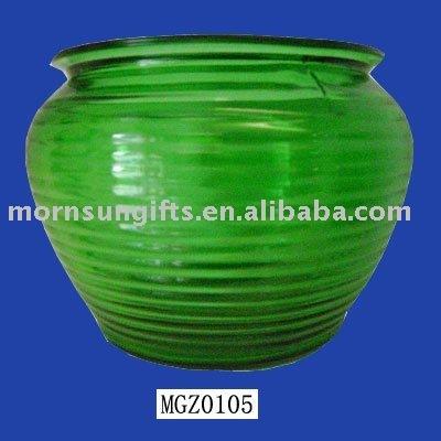Large hand glazed ceramic green garden pottery of flower planter