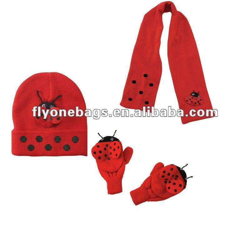 Girls Knitted hat & scarf&gloves 3 pcs set