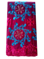 Alibaba latest style 51-52'' fushia pink and blue embroidered african dry lace fabric for African wedding dress