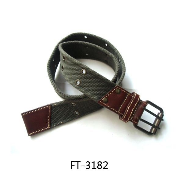 Mens Canvas Double Grommet Holes Belt Military Camo Double Pin Buckle