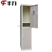 Single 2-door steel locker with mirror and shelf