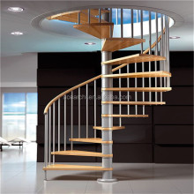 Customize Modern Indoor Galvanized Spiral Staircase Prefabricated Wood Pedal Stairs