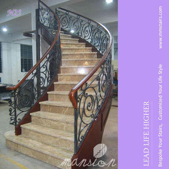 Steel Structure Stringer Cast Iron Staircase for Marble Treads