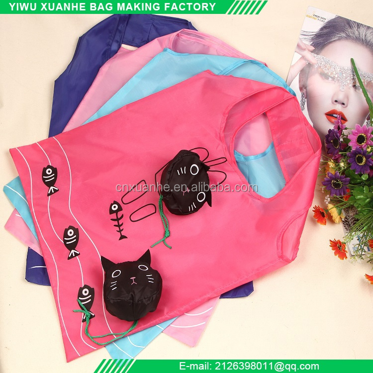 Cat shape recyclable folding shopping tote bag