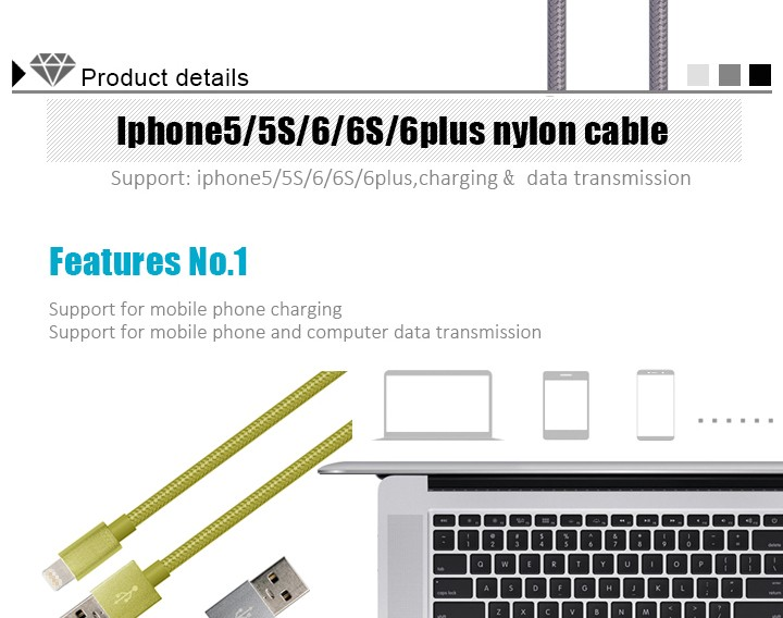 1M Braided Micro USB Charger Charging Data Sync Cable For Cell Phone