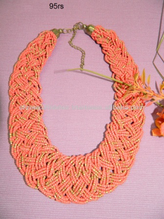 ORANGE SEED BEAD TWISTER NECKLACE 1940's HAUTE COUTURE