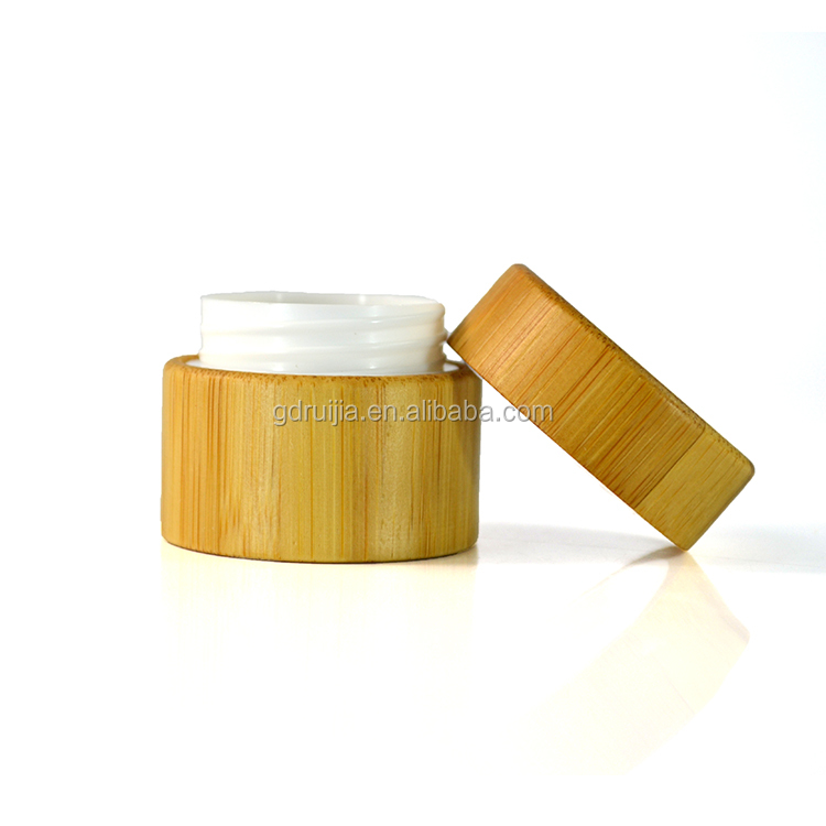 Luxury cosmetic packaging 5g 15g 30g 50g bamboo wooden cosmetic cream jars
