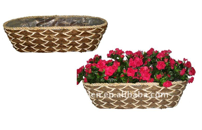 Rattan and Banana leaf rope Patio planter - Floor planter - Rattan and Banana leaf rope Flower pot