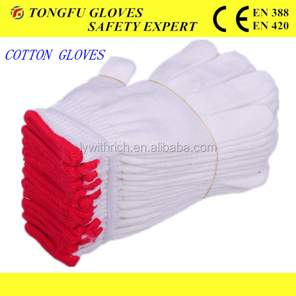 high quality string knit thin cotton glove for men/10gauge cotton Knitted working safety gloves EN388