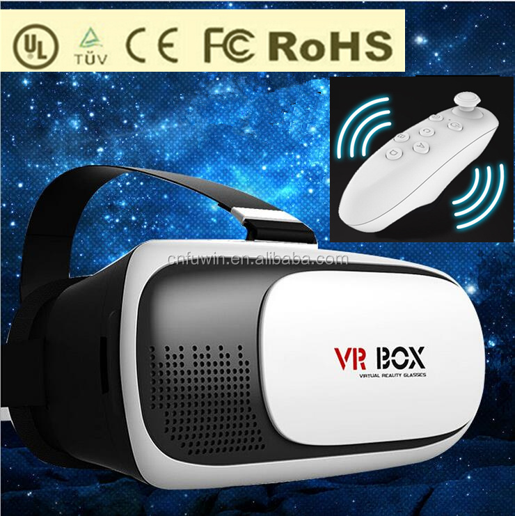 2017 Wholesale Hot sell Google Cardboard VR 3D glasses 2nd generation virtual reality headset VR Box 2.0 with remote