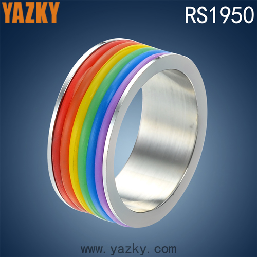 Cheap 316L stainless steel jewelry unisex ring rainbow color silicone ring accessories women rings