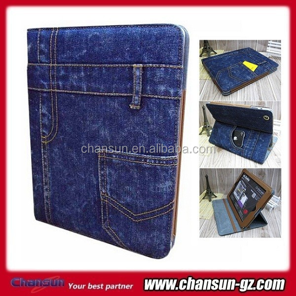jeans design leather case for ipad mini 2
