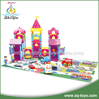 Kids educational plastic building blocks toys creative building block toys amusement park cars for sales