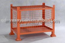 collapsible wire mesh container with post