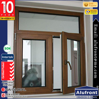 US STANDARD Aluminum wood finished frame double glass Casement Window