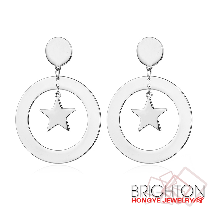 Cute Girl Star Imitation Rhodium Plated Hoop Earring 2-9553-4920
