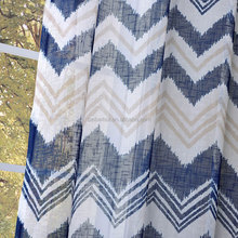 Wholesale Ready Made Window Voile Striped Blue Linen Curtain