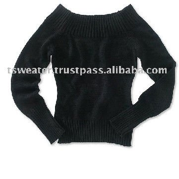 Women Boat Neck Knitted Cotton Pullover Sweater