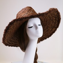 Brown lady beach raffia straw wide brimmed sun hats