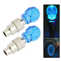 2 x Skull Shaped Valve Cap Light Wheel Tyre Lamp for Car / Motorbike / Bike