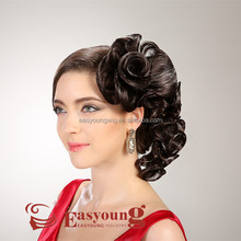 Beauty salon show hair accessories, hairpieces updos for brides in wedding