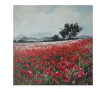 Textured Poppy Field Canvas Flower Oil Painting