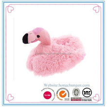 Ladies promotional plush animal slippers flamingo slippers