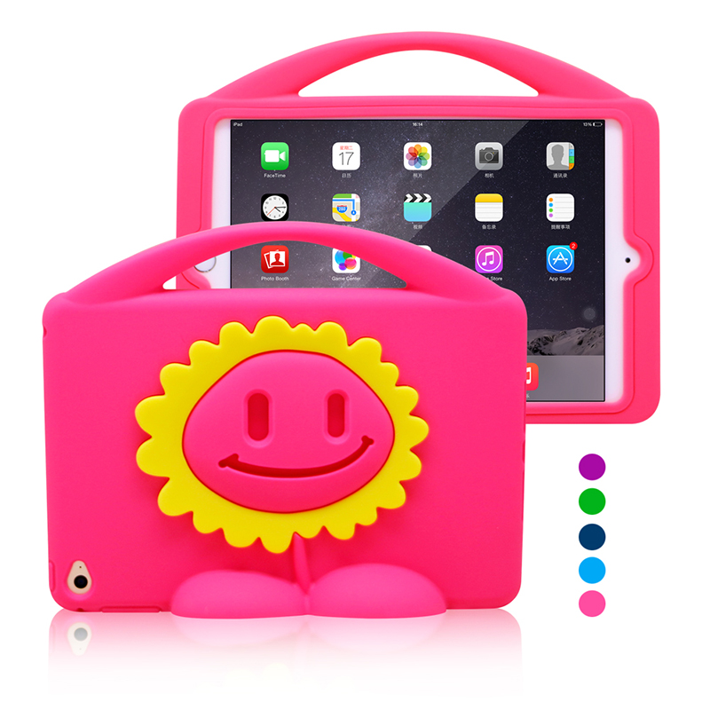 Sunflower Design Tablet Accessories Kid Silicone PC 3D Image Protective Case for iPad Mini 4