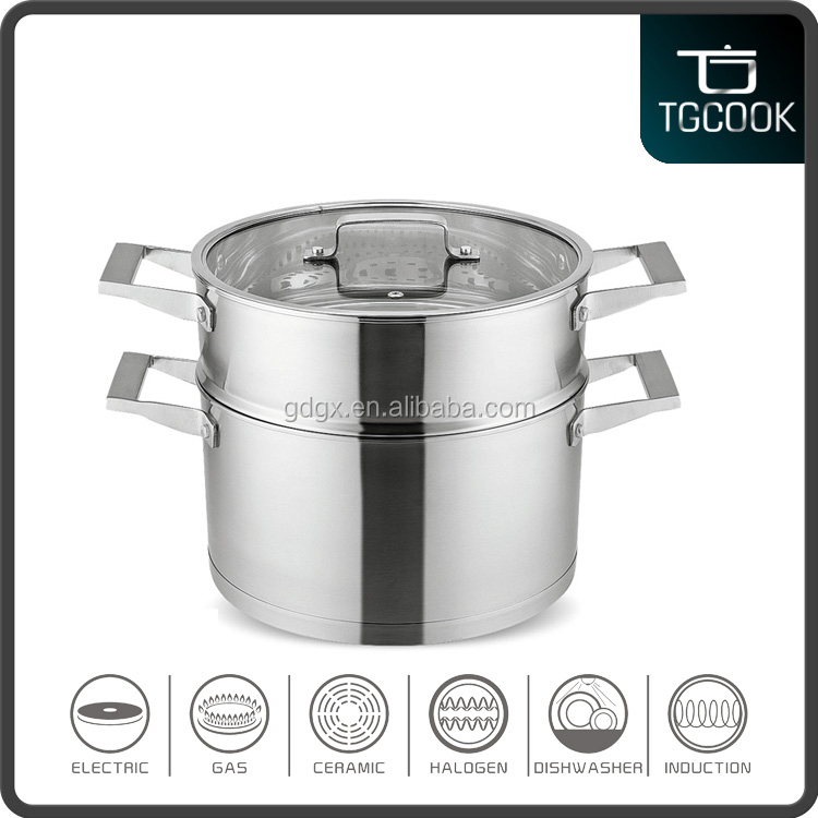 Straight shape tempered glass lid two layer stainless food steamer