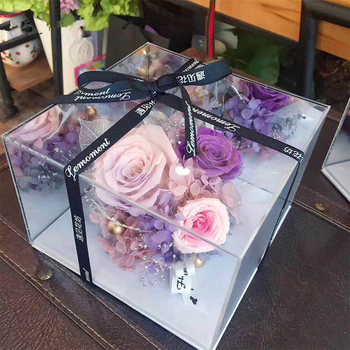 Acrylic Mirror Cube Display  Rose Mirror Perspective Flower Box Creative Flowers Packaging Valentine's Day Gifts