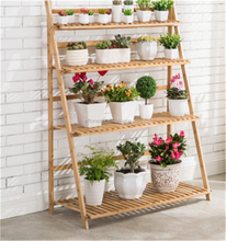 cheap natural bamboo wooden flower shelf wholesale