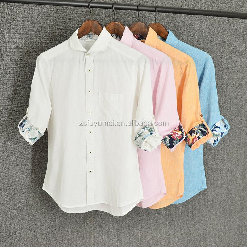 Cotton Shirts Hawaiian Designs Latest Wholesale Linen Men